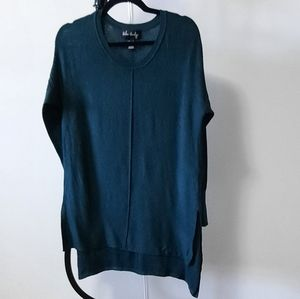 Scoop neck long sleeve teal green long sweater
